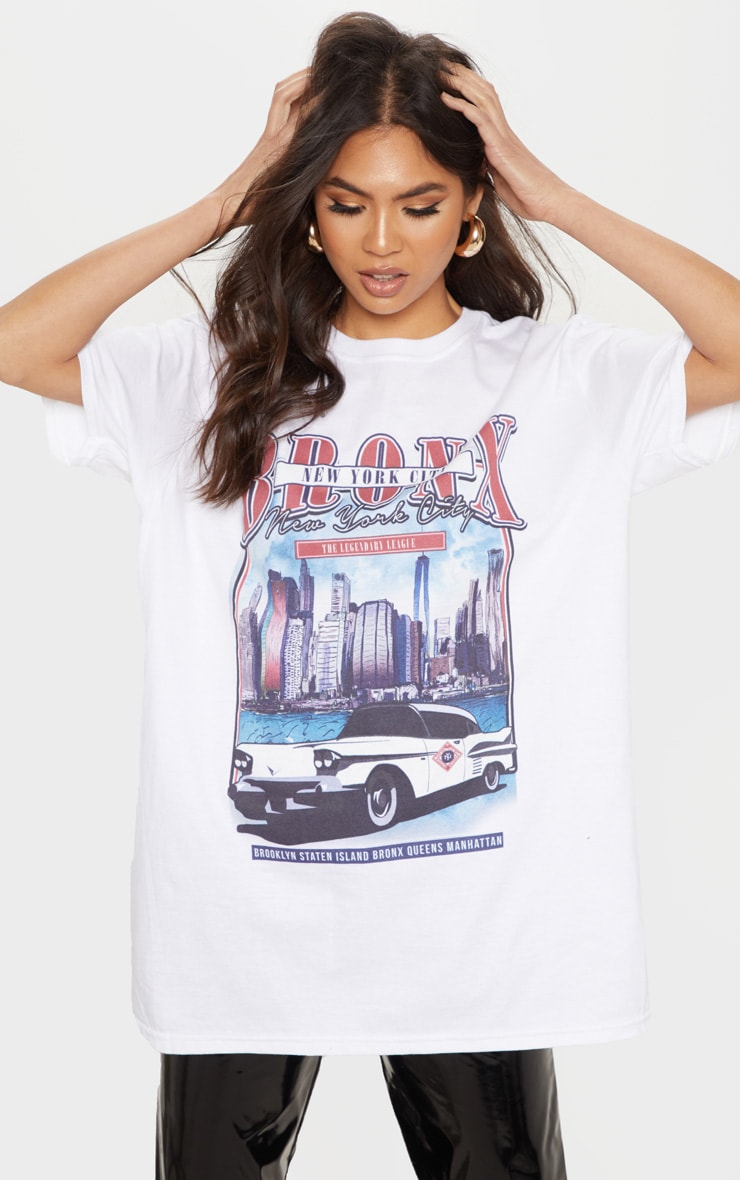 White Vintage Police Print Oversized T Shirt 1