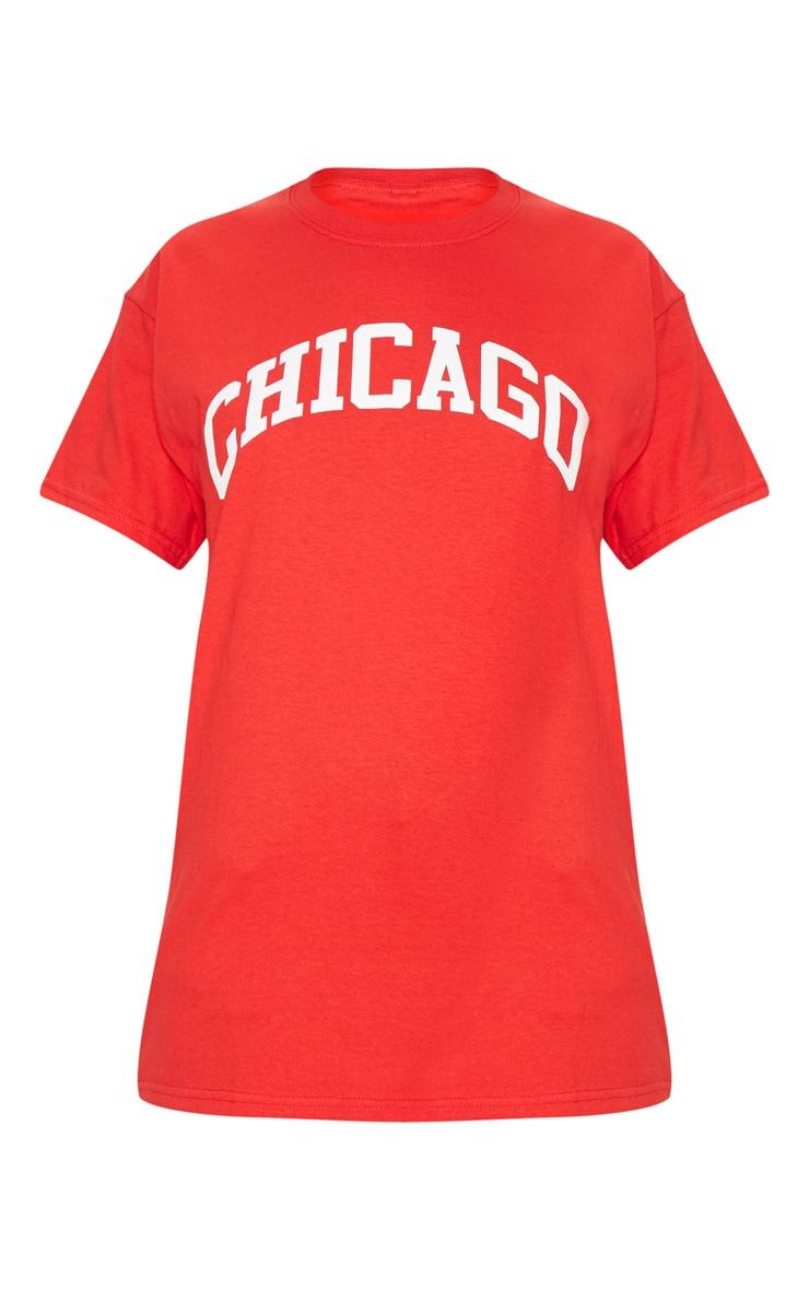 Red Chicago Slogan Oversized T Shirt 1