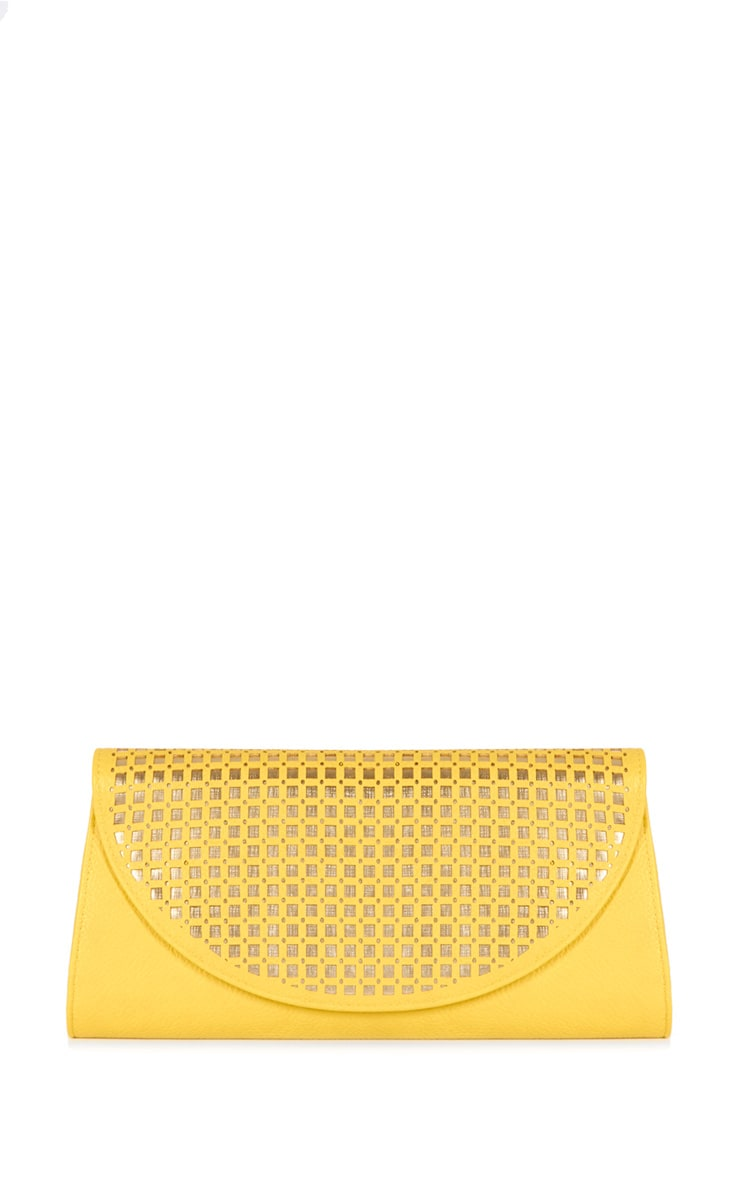 Laila Yellow Leather Clutch with Metallic Lattice  1