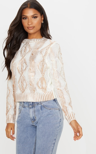 White Metallic Cable Knit Jumper