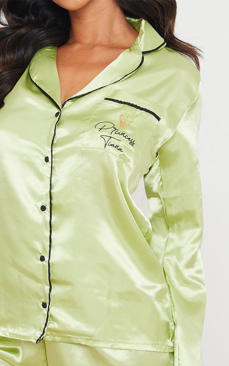 Green Disney Princess Tiana Embroidered Short Satin Pj Set 4
