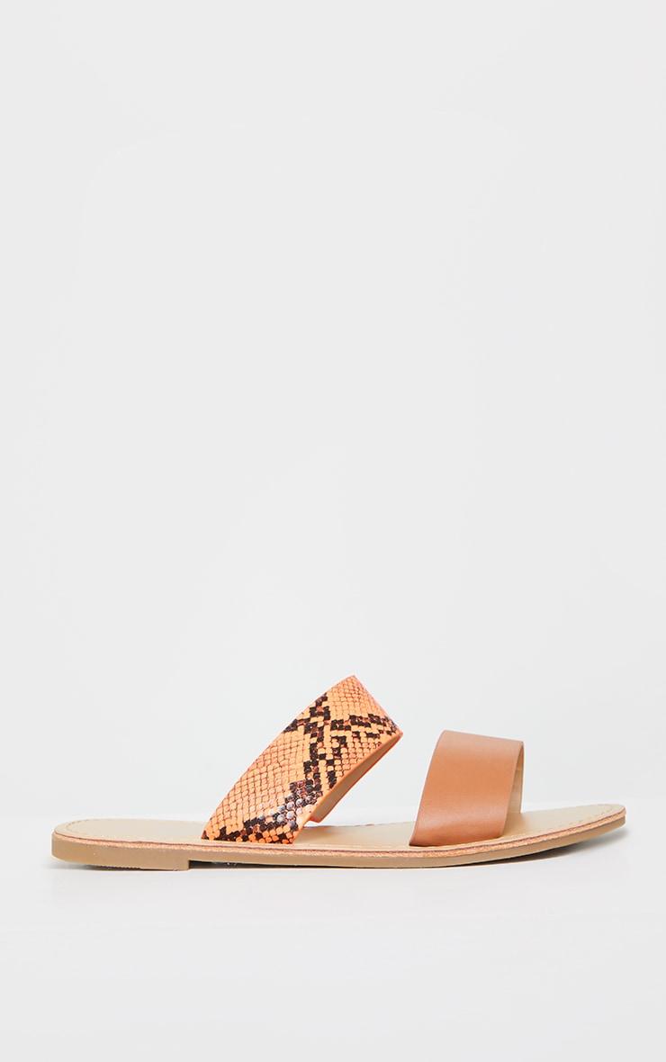 Orange PU Double Strap Contrast Snake Flat Mule Sandals 3