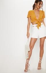 443688ba95e69 Mustard Polka Dot Chiffon Tie Front Front Blouse image 4
