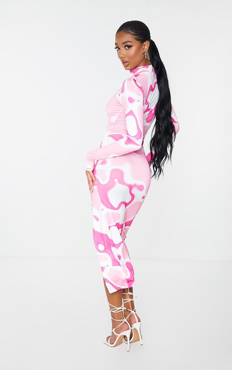 Pink Abstract Print High Neck Long Sleeve Slinky Midi Dress 2