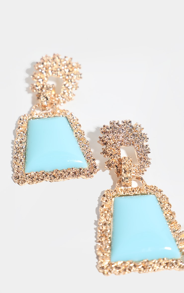 Turquoise Stone Door Knocker Earring 2