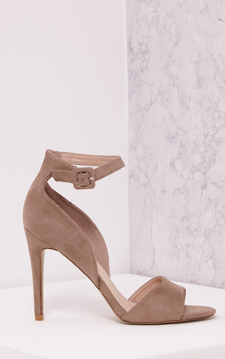 Baylie Stone Faux Suede Strappy Heeled Sandals 3