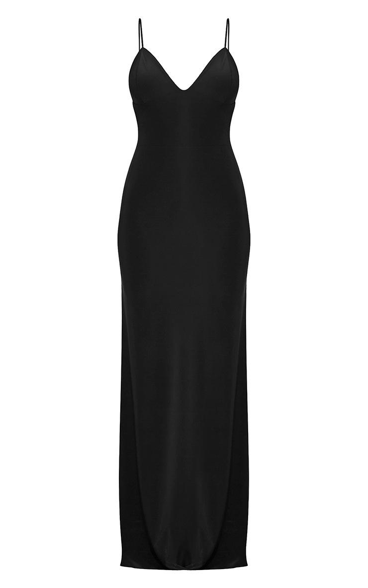 Irinah Black Slinky Strappy Plunge Maxi Dress 6