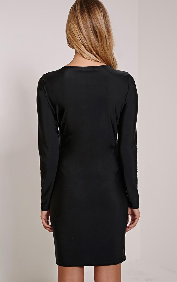 Eden Black Lace Up Front Mini Dress 2