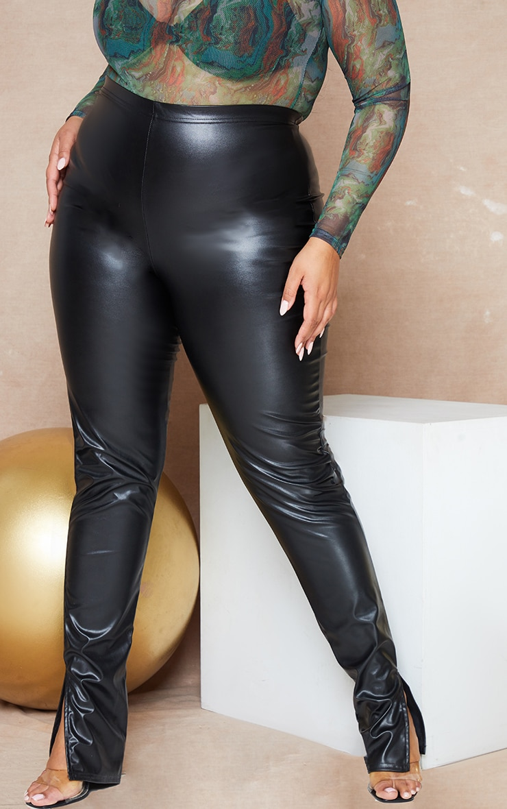 Plus Black PU Split Hem Pants 2