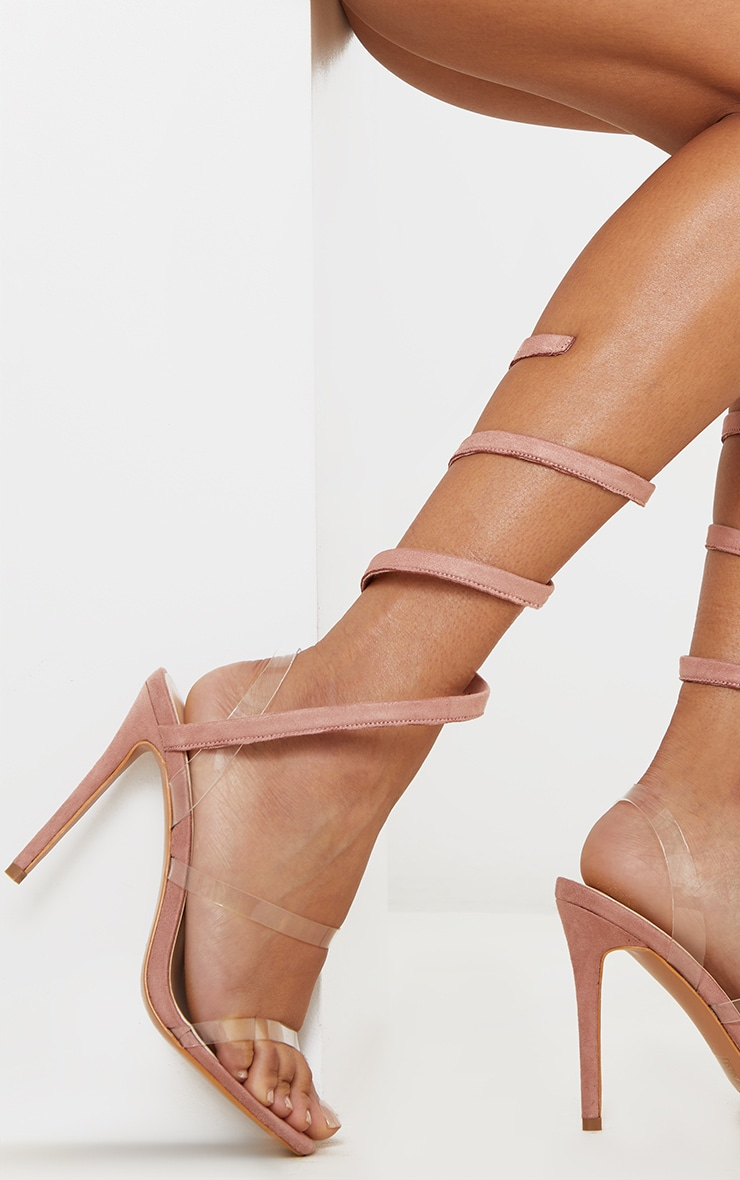 Dusty Rose Ankle Wrap Strappy Heeled Sandal 2