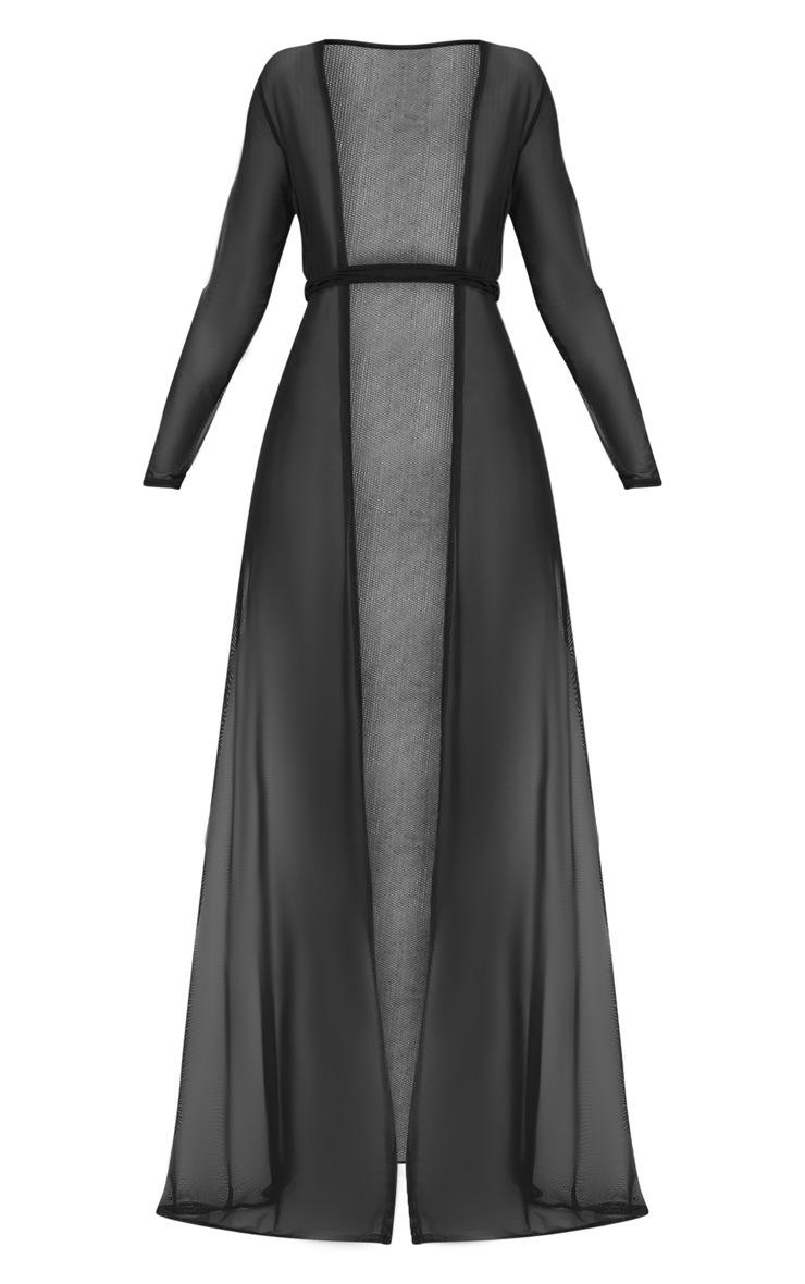 Black Double Belted Mesh Beach Dress 3