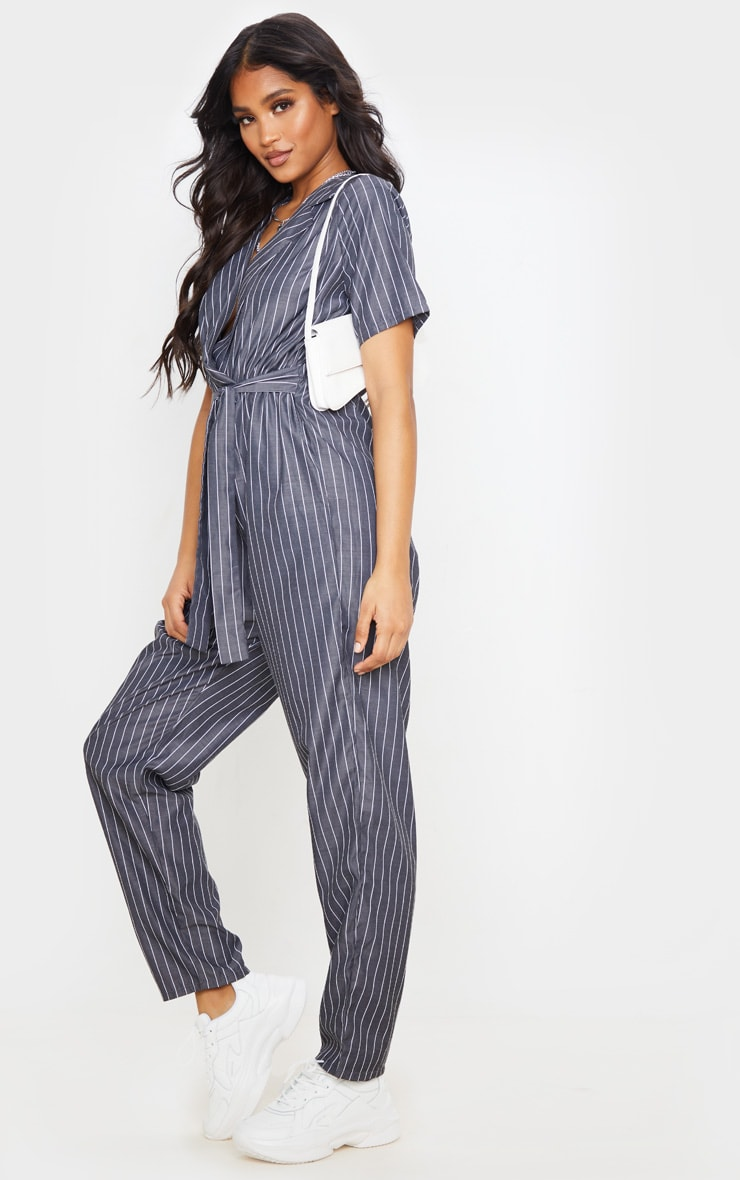 Charcoal Grey Pinstripe Short Sleeve Wrap Jumpsuit 4