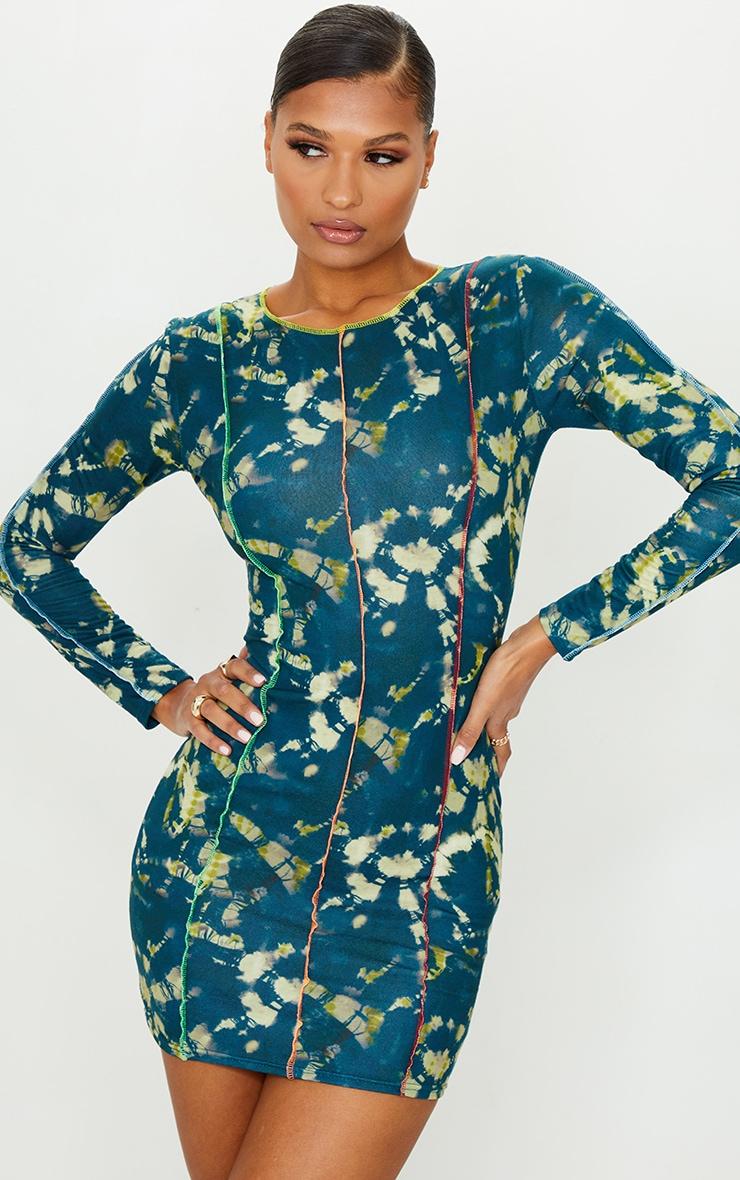 Multi Long Sleeve Multi Stitch Detail Bodycon Dress 1