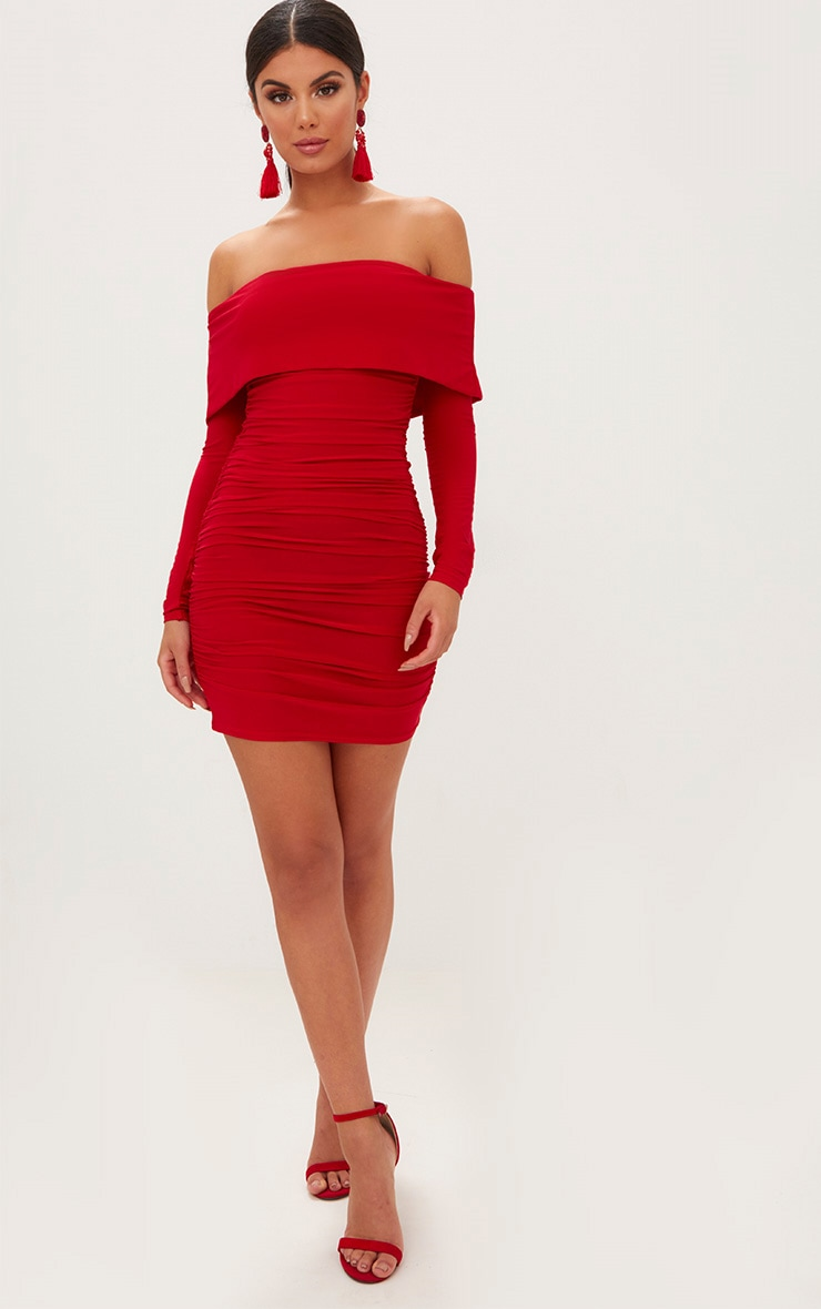 Red Long Sleeve Bardot Ruched Bodycon Dress 4