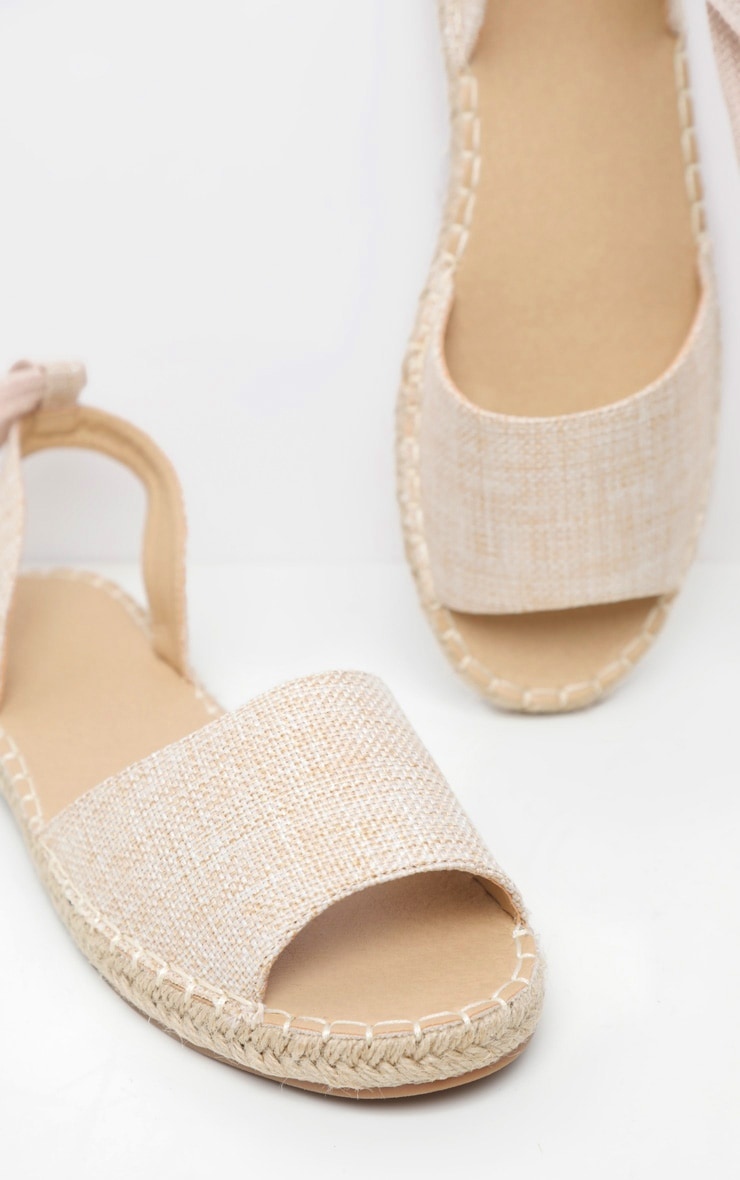 Nude Peeptoe Espadrille Lace Up Flat Sandal 4