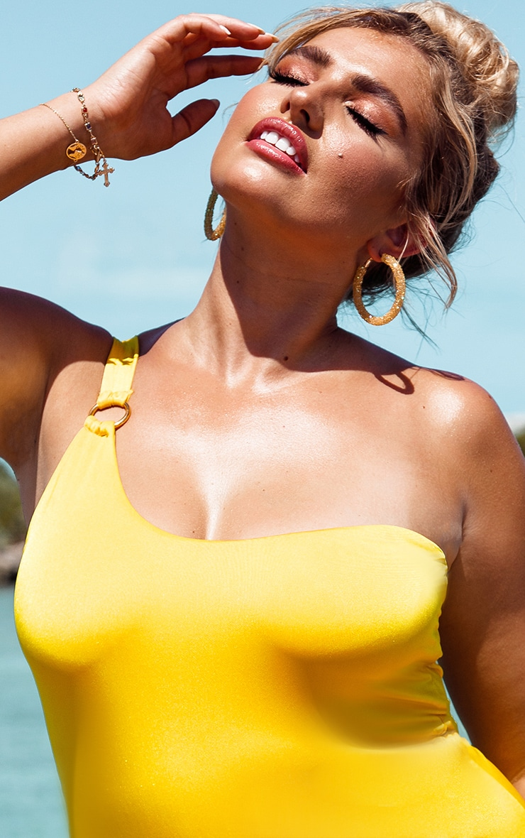 Plus Bright Yellow Asymmetric Ring Detail Swimsuit 5