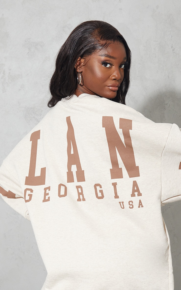Tall Oatmeal Atlanta Georgia  Graphic Sweatshirt Dress 4
