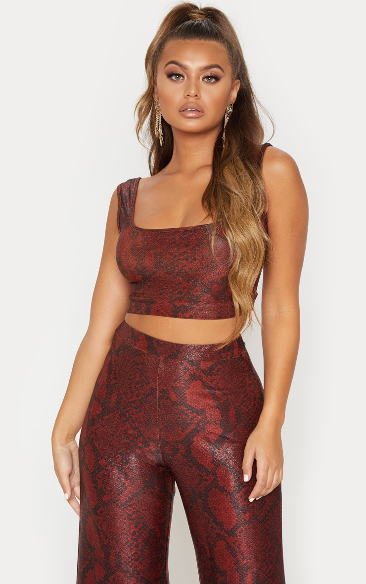 Maroon Metallic Snake Square Neck Crop Top 2