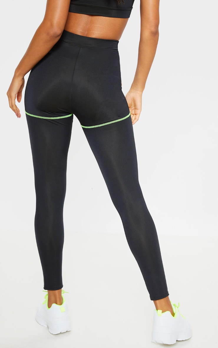 Black Neon Contrast Stitch Gym Leggings 3