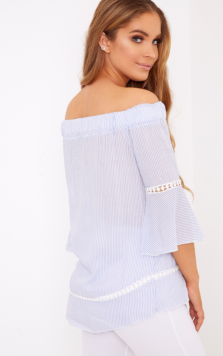 Althea Blue Stripe Bardot Crochet Detail Shirt 2