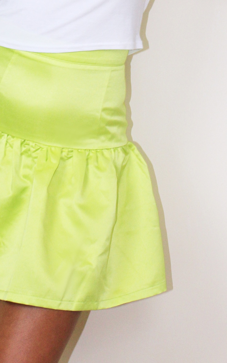 Petite Lime Satin Flippy Hem Mini Skirt 5