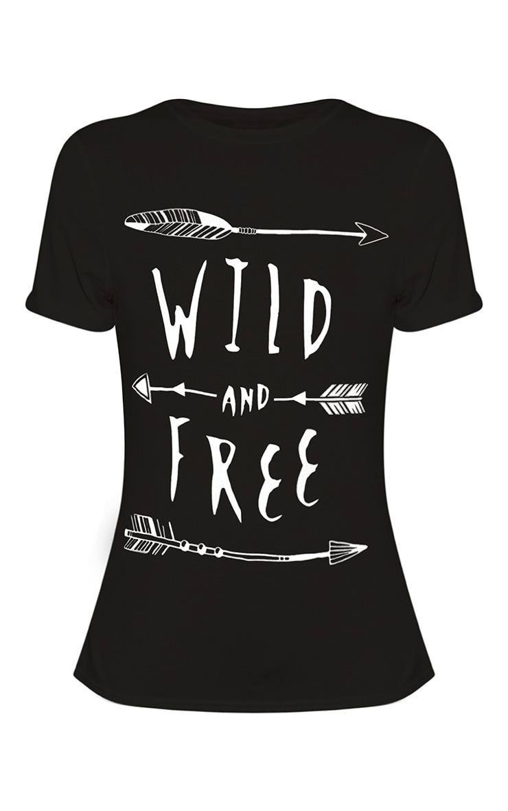 Wild & Free Slogan Black T-Shirt 3