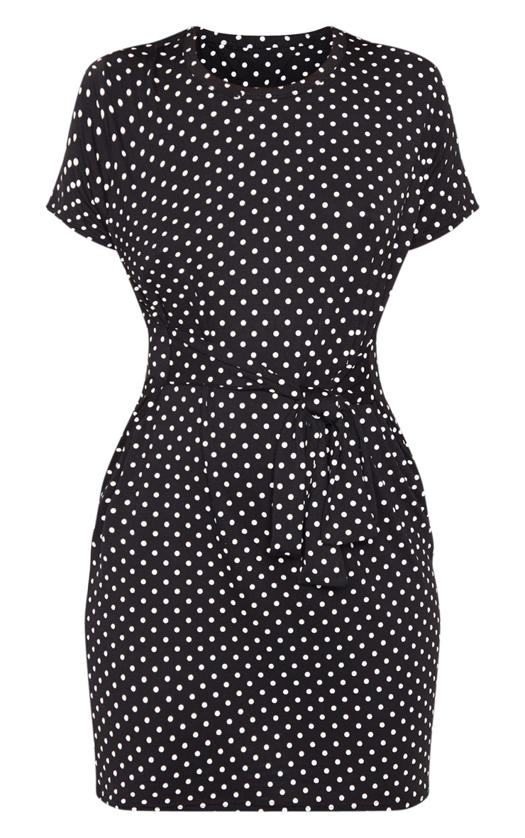 Black Polka Dot Tie Waist T Shirt Dress 3