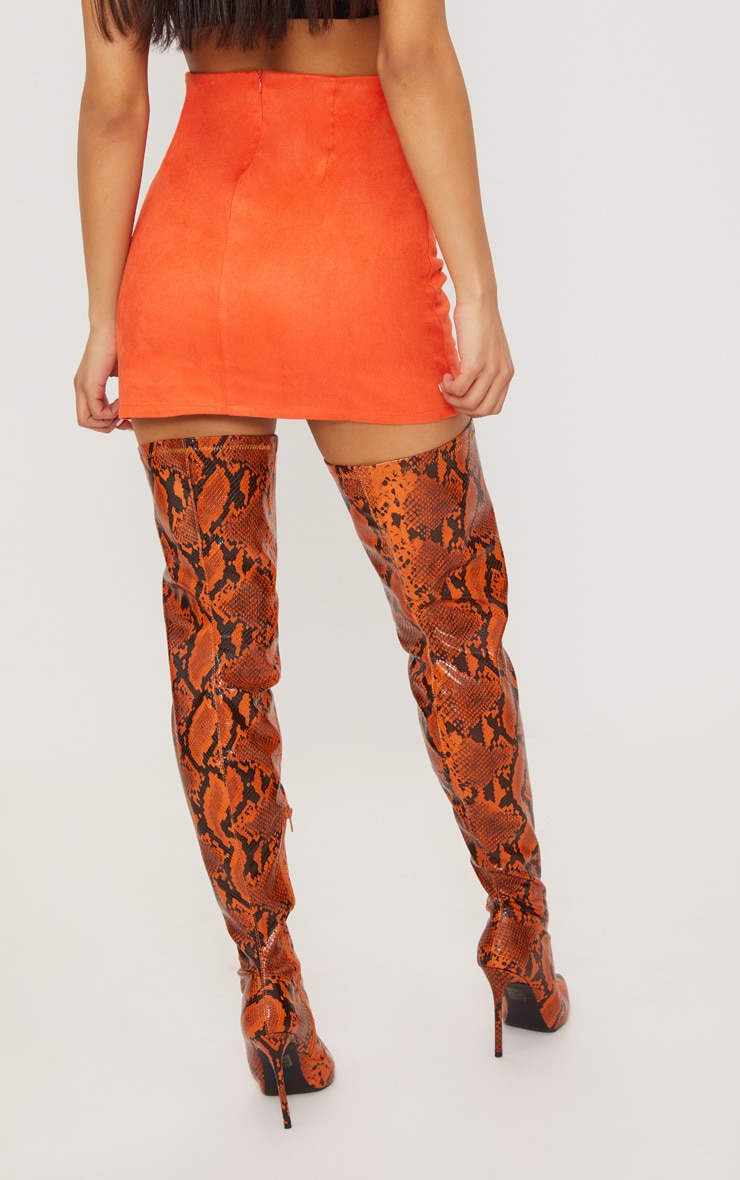 Orange Faux Suede Mini Skirt  4