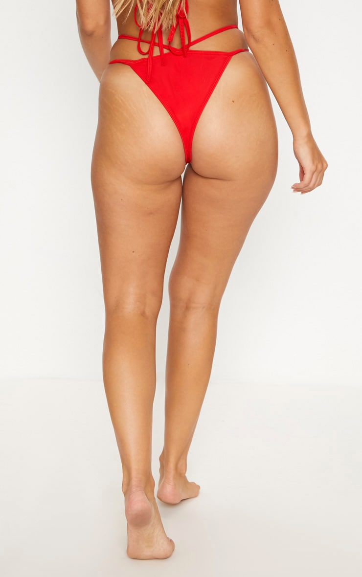 Red Double Strap Tanga Bottom 5