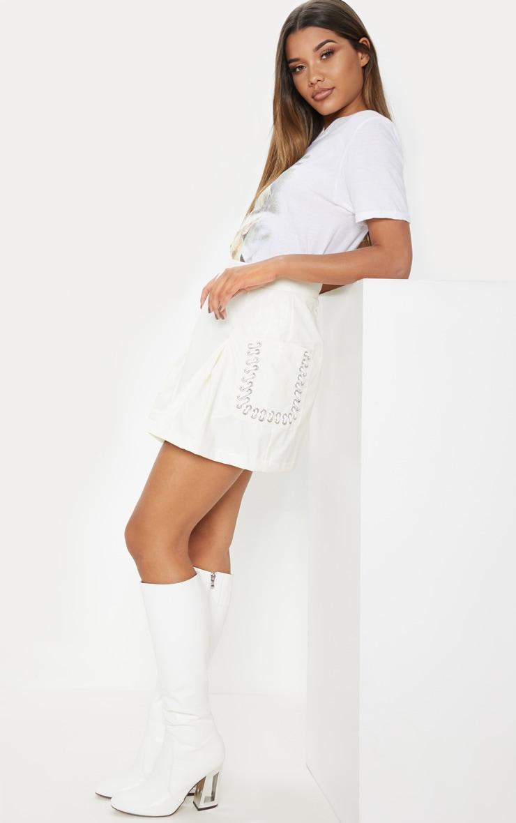 White Faux Leather Pocket Detail Mini Skirt 5