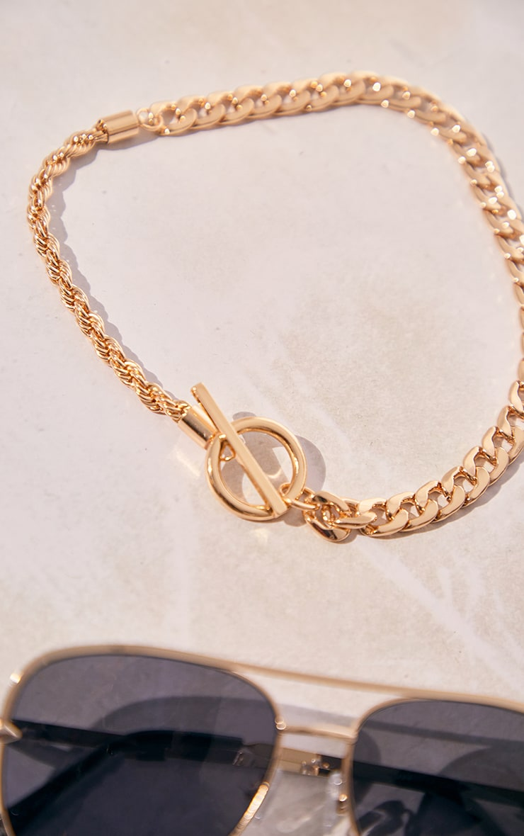 Gold Chain Assorted T Bar Necklace 4