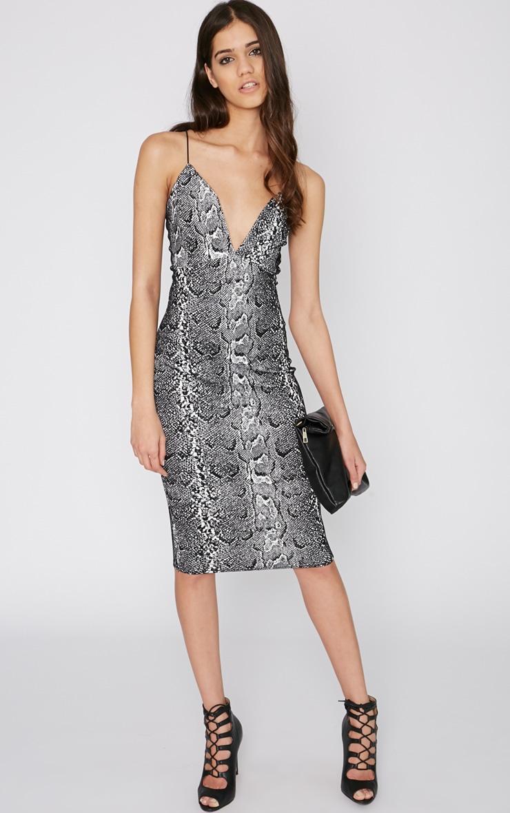 Babita Velvet Glitter Snake Print Midi Dress  3