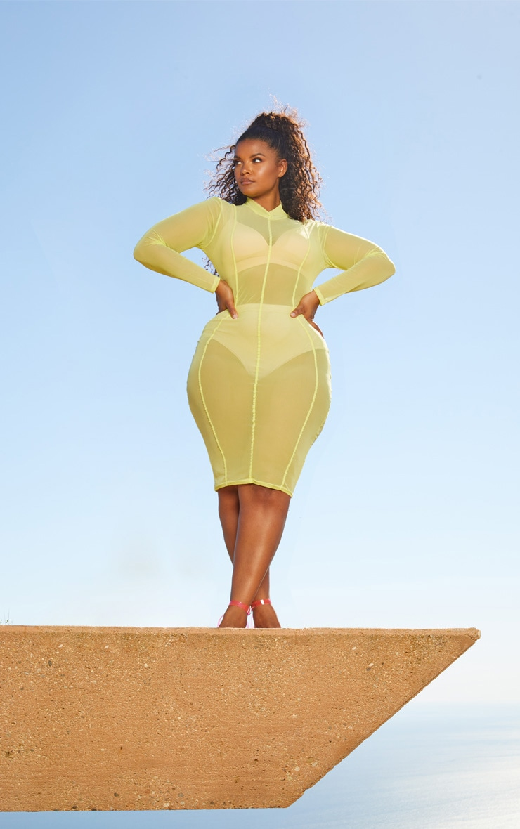 Plus Lime Second Skin Sheer Mesh Midi Dress 4