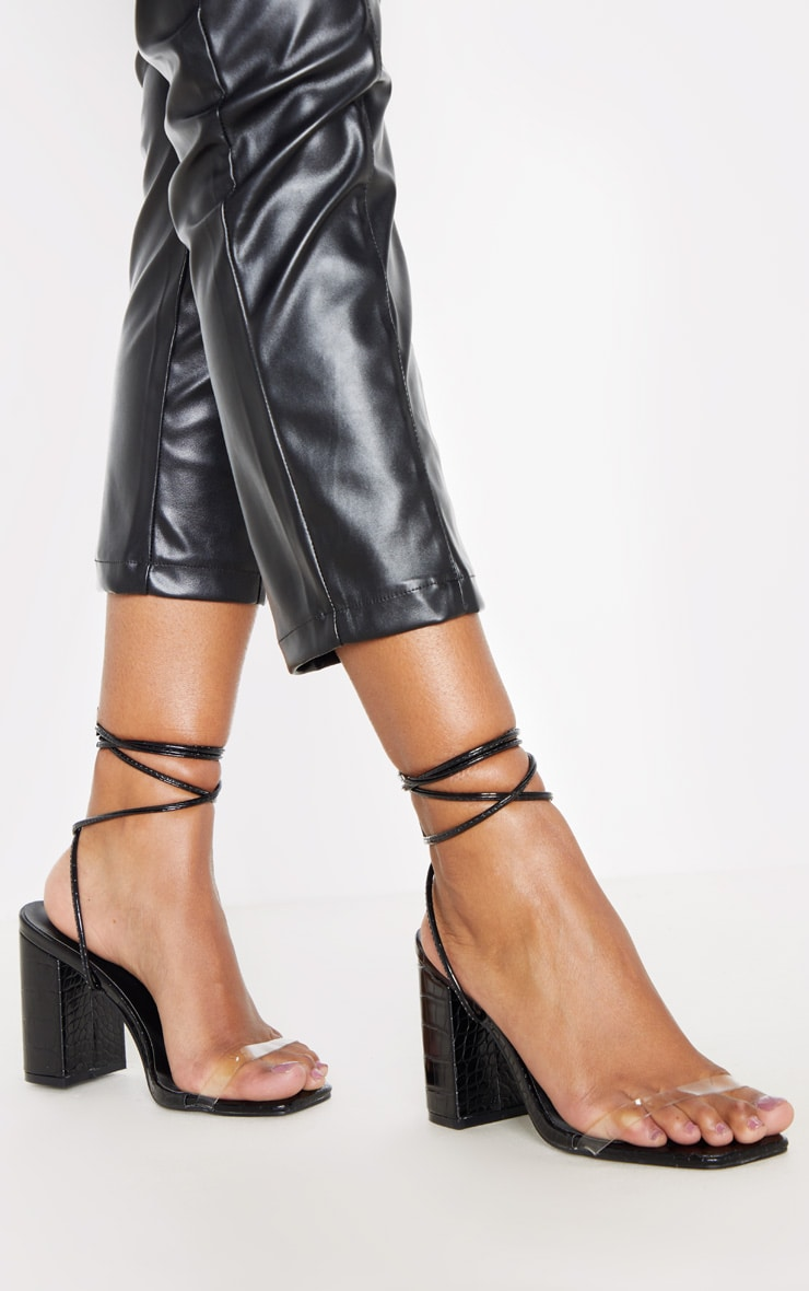 Black Ankle Lace Up Chunky Block Heel Sandal 1