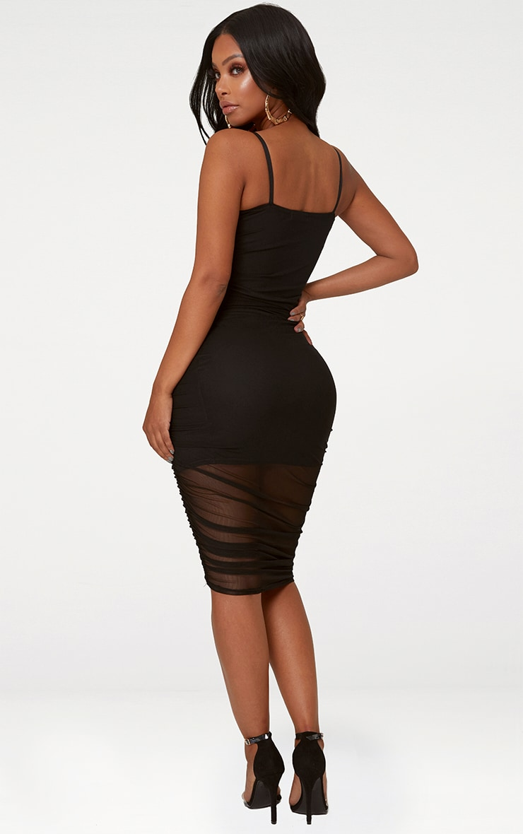 Shape Black Ruched Mesh Bodycon Mini Dress 2