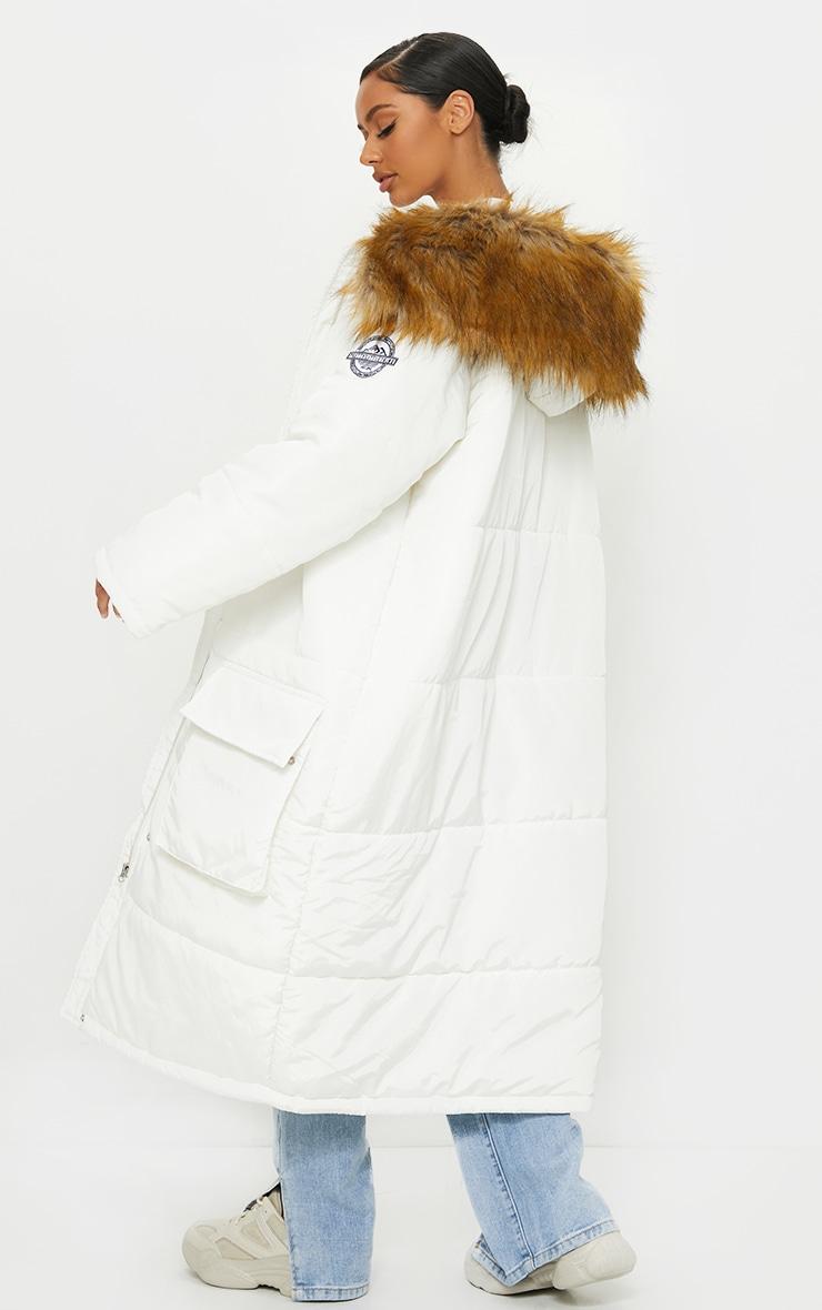 PRETTYLITTLETHING White Maxi Hooded Parka Jacket 2