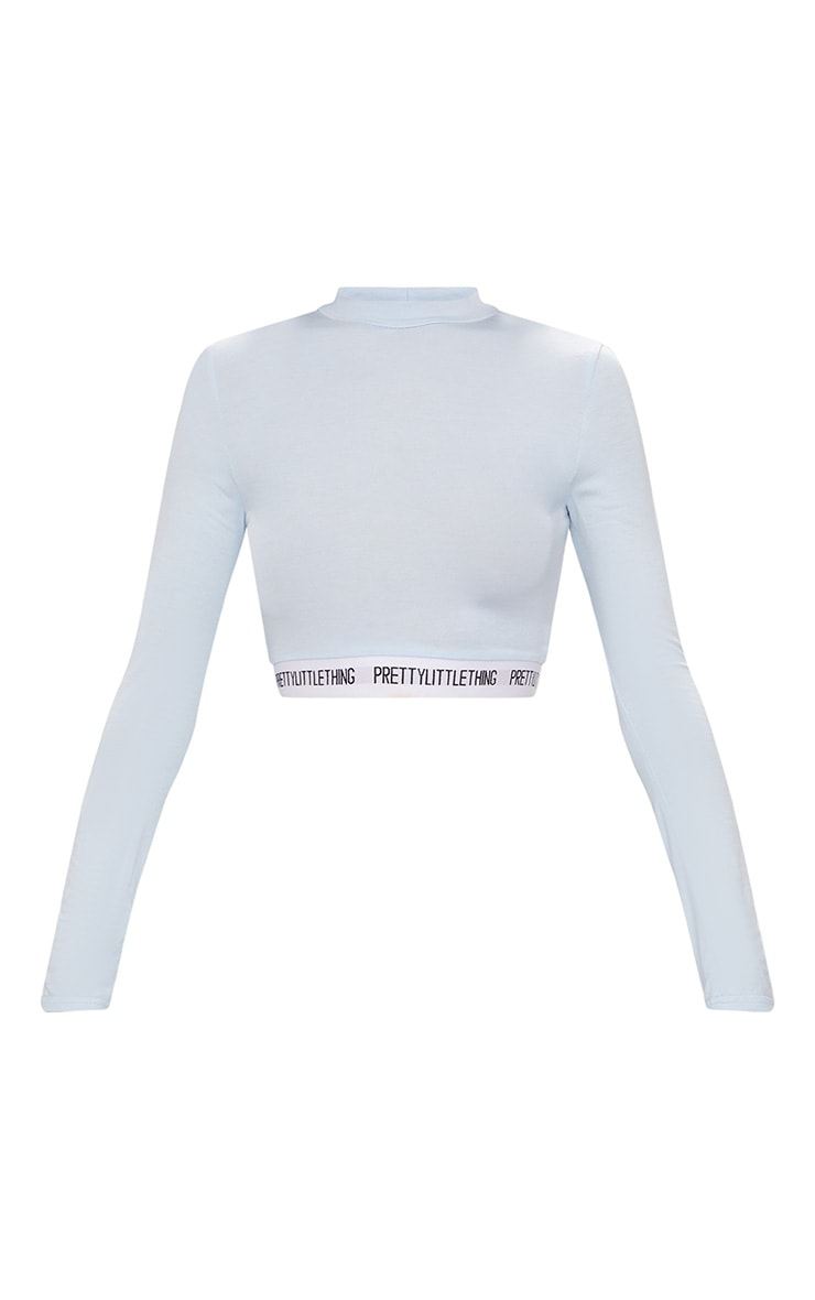 PRETTYLITTLETHING Baby Blue High Neck Crop Top 4