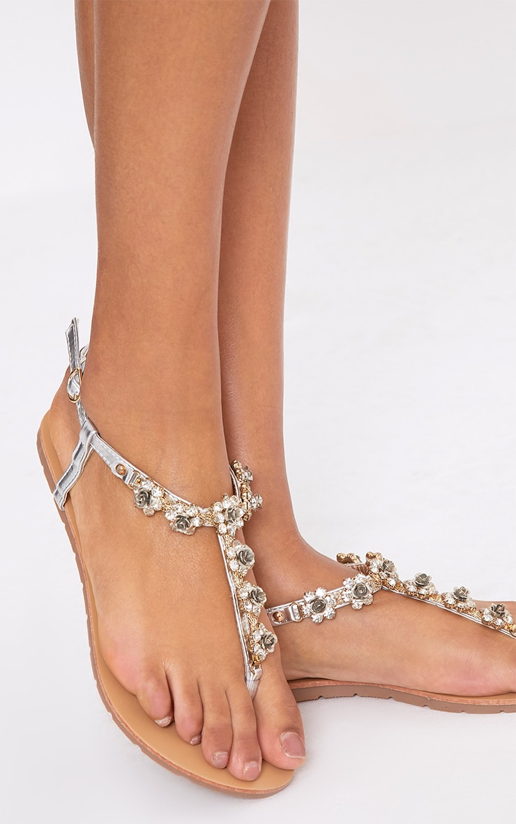Amana Silver  Rose Jewelled Sandals 1