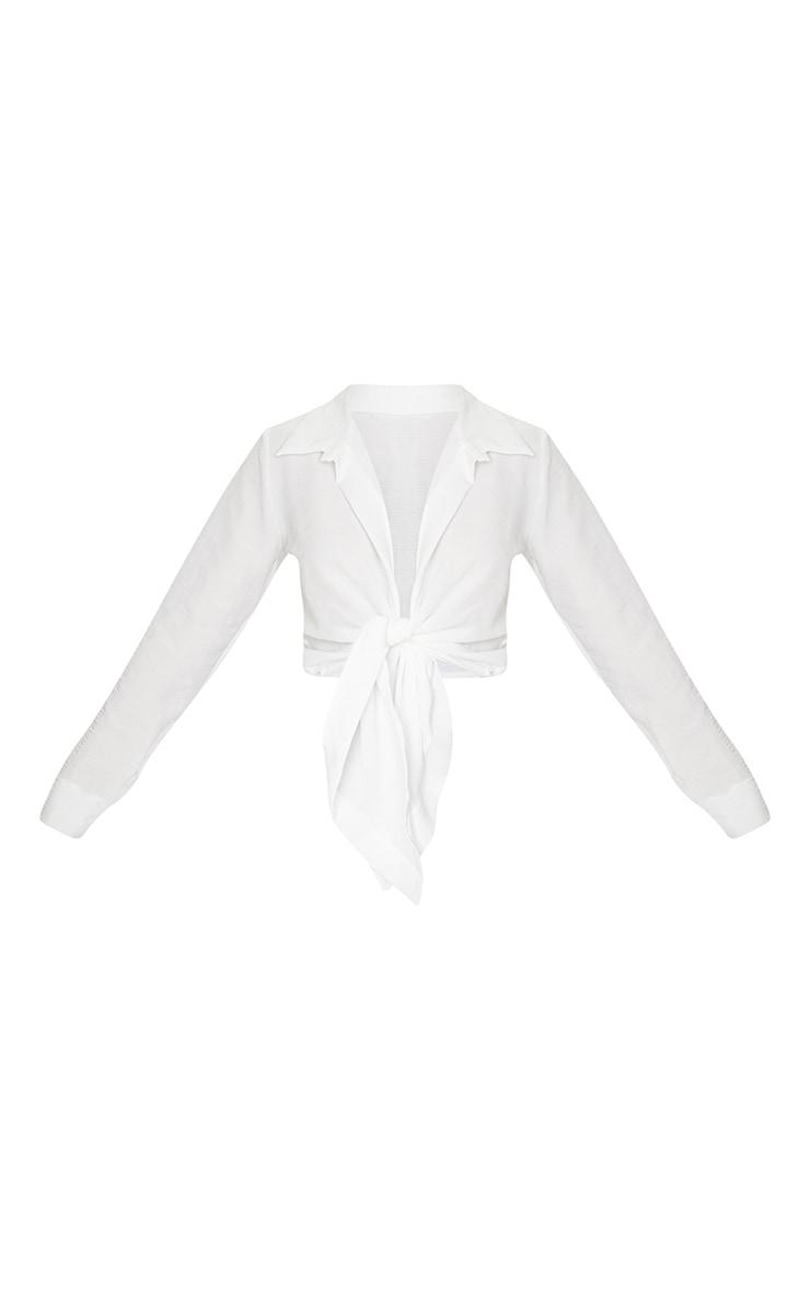 White Textured Tie Front Shirt 5