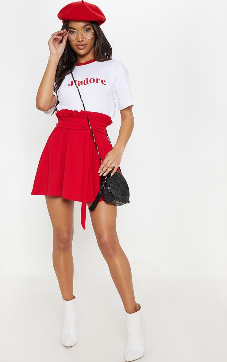 Red Tie Waist A Line Mini Skirt 5
