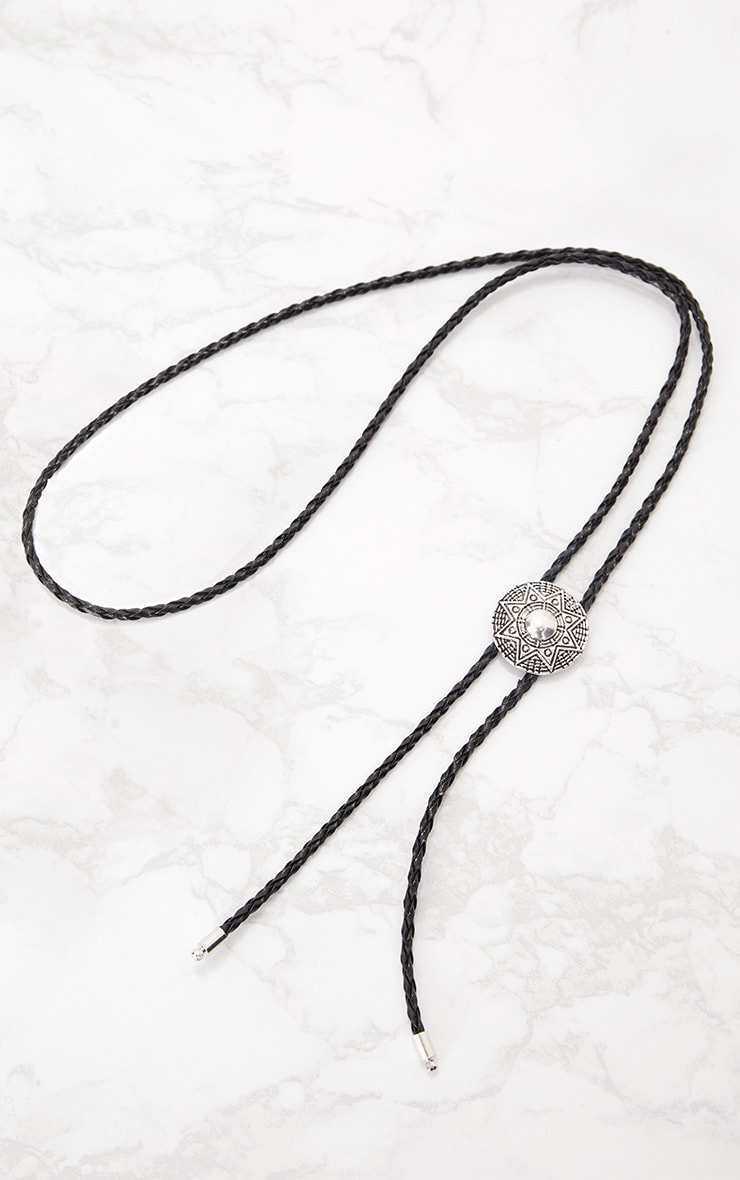 Black Braided Western Style Bolo Tie Necklace 3