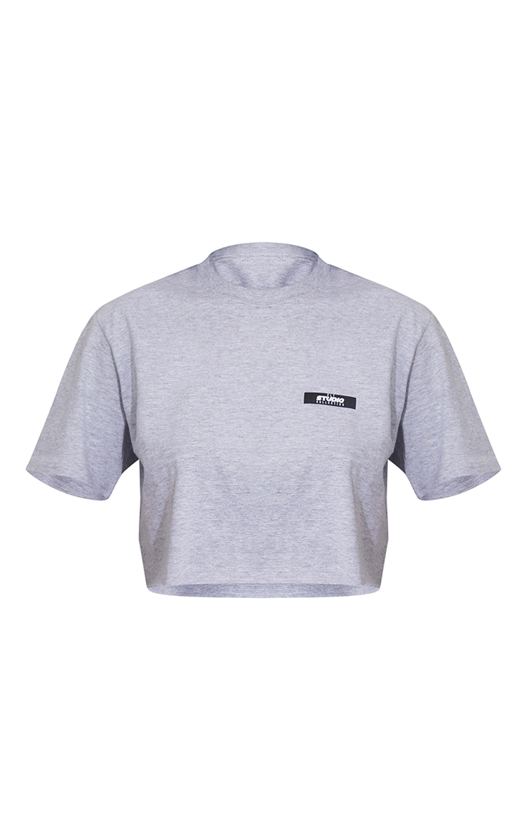 PRETTYLITTLETHING Grey Marl Studio Label Crop T Shirt 5