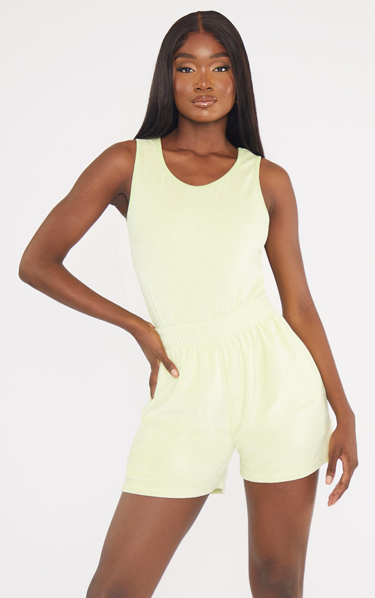 Tall Lime Velour Oversized Sweat Shorts 4