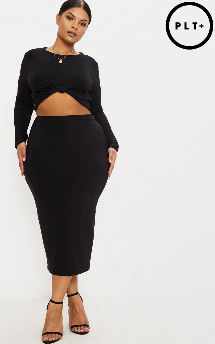 Plus Black Slinky Midi Skirt 1