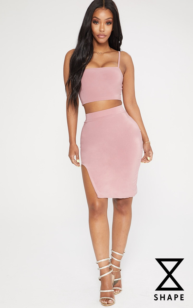Shape Rose Extreme Split Bodycon Skirt by Prettylittlething