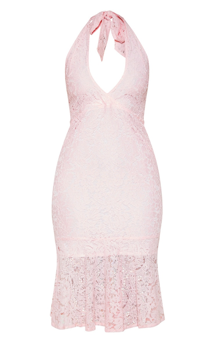 Blush Lace Halter Midi Dress 3