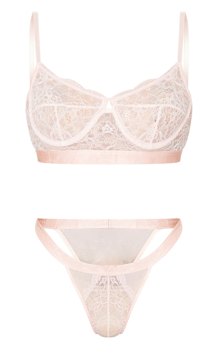 Blush Delicate Lace Underwired Bra And Knicker Set 5