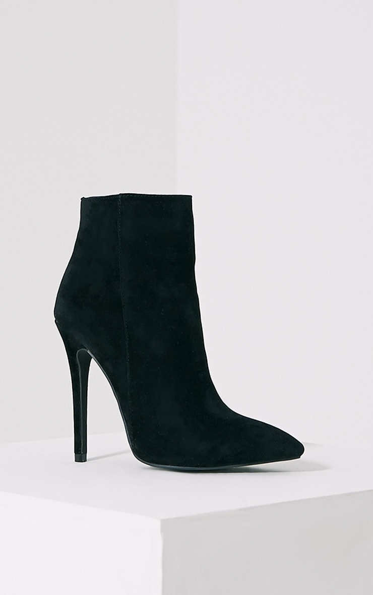 Yeni Black Suede Heeled Ankle Boots 3