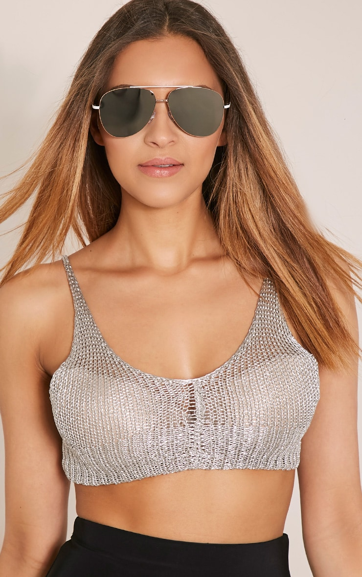 Maddalyn Silver Lense Aviator Sunglasses 1