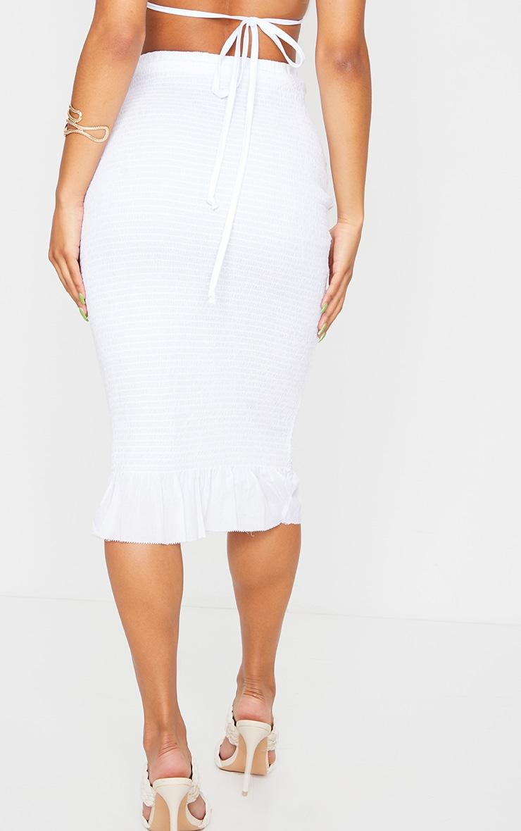 White Shirred Frill Hem Midi Skirt 3